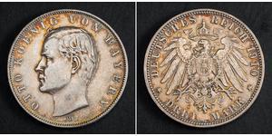 3 Mark Reino de Baviera (1806 - 1918) Plata Otón I de Baviera(1848 – 1916)