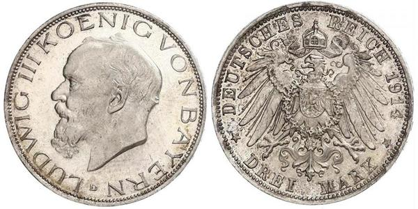 3 Mark Reino de Baviera (1806 - 1918) Plata Luis III de Baviera (1845 – 1921)