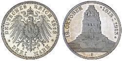 3 Mark Reino de Sajonia (1806 - 1918) Plata