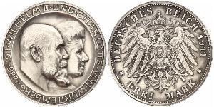 3 Mark Reino de Wurtemberg (1806-1918) Plata Wilhelm II, German Emperor (1859-1941)