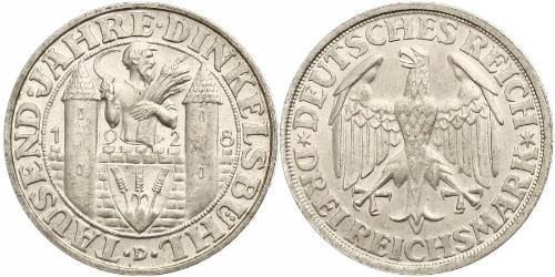 3 Mark República de Weimar (1918-1933) Plata