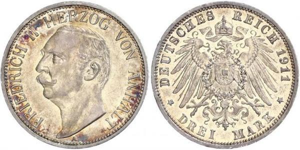 3 Mark Anhalt-Dessau (1603 -1863) Silber Friedrich II. (Anhalt)(1856 – 1918)