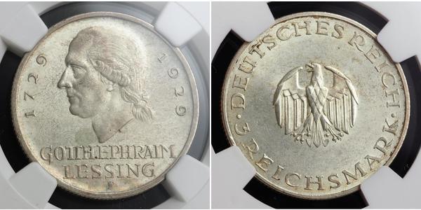 3 Mark Deutsches Kaiserreich (1871-1918) Silber Gotthold Ephraim Lessing