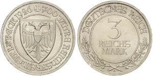 3 Mark Free City of Lübeck Silber