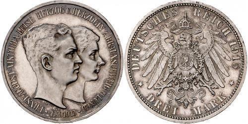 3 Mark Herzogtum Braunschweig (1815 - 1918) Silber Ernst August (Braunschweig) (1887 - 1953)