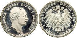 3 Mark Königreich Sachsen (1806 - 1918) Silber Friedrich August III. (Sachsen) (1865-1932)