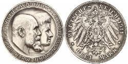 3 Mark Königreich Württemberg (1806-1918) Silber Wilhelm II, German Emperor (1859-1941)