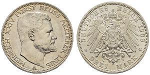 3 Mark Reuß älterer Linie (1778 - 1918) Silber Heinrich XXIV. (Reuß-Greiz)