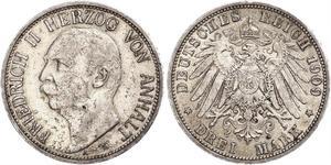 3 Mark Anhalt-Dessau (1603 -1863) Silver Friedrich II, Duke of Anhalt (1856 – 1918)