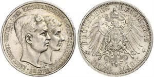 3 Mark Duchy of Brunswick (1815 - 1918) Silver Ernest Augustus, Duke of Brunswick (1887 - 1953)