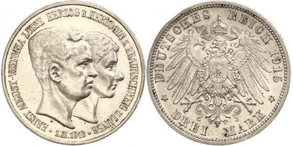 3 Mark Duchy of Brunswick (1815 - 1918) Silver Ernest Augustus, Duke of Brunswick (1887 - 1953)