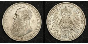 3 Mark Duchy of Saxe-Meiningen (1680 - 1918) Silver Georg II, Duke of Saxe-Meiningen