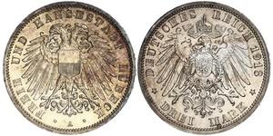 3 Mark Free City of Lübeck Silver
