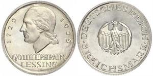 3 Mark German Empire (1871-1918) Silver Gotthold Ephraim Lessing