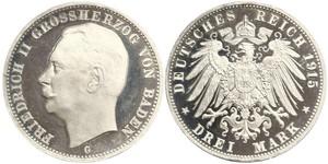 3 Mark Grand Duchy of Baden (1806-1918) Silver Frederick II, Grand Duke of Baden (1857 - 1928)