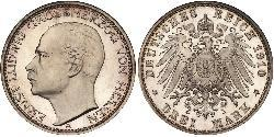 3 Mark Grand Duchy of Hesse (1806 - 1918) Silver Ernest Louis, Grand Duke of Hesse (1868 - 1937)