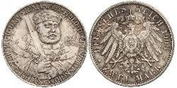 3 Mark Grand Duchy of Saxe-Weimar-Eisenach (1809 - 1918) Silver