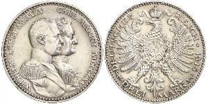 3 Mark Grand Duchy of Saxe-Weimar-Eisenach (1809 - 1918) Silver William Ernest, Grand Duke of Saxe-Weimar-Eisenach