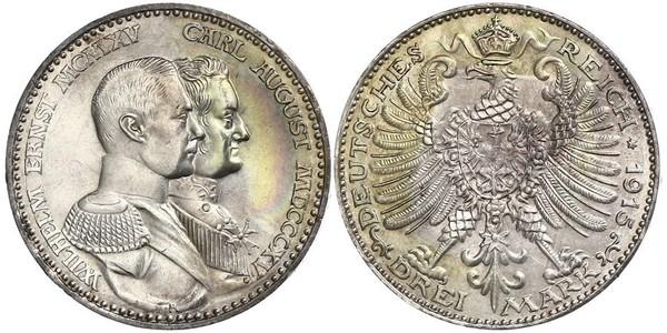 3 Mark Grand Duchy of Saxe-Weimar-Eisenach (1809 - 1918) Silver William Ernest, Grand Duke of Saxe-Weimar-Eisenach