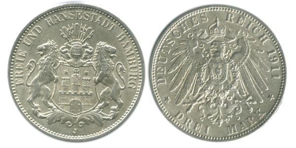 3 Mark Hamburg / States of Germany Silver