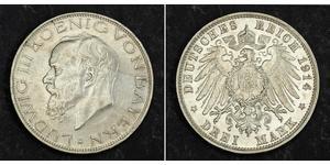 3 Mark Kingdom of Bavaria (1806 - 1918) Silver Ludwig III of Bavaria (1845 – 1921)