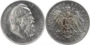 3 Mark Kingdom of Bavaria (1806 - 1918) Silver Otto of Bavaria (1848 – 1916)