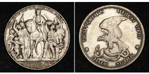 3 Mark Kingdom of Prussia (1701-1918) Silver
