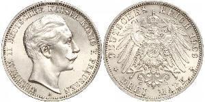 3 Mark Kingdom of Prussia (1701-1918) Silver Wilhelm II, German Emperor (1859-1941)