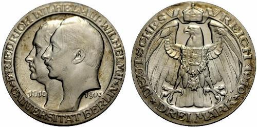 3 Mark Kingdom of Prussia (1701-1918) Silver Wilhelm II, German Emperor (1859-1941)