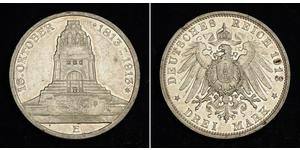 3 Mark Kingdom of Saxony (1806 - 1918) Silver