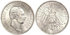 3 Mark Kingdom of Saxony (1806 - 1918) Silver Frederick Augustus III of Saxony (1865-1932)