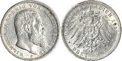 3 Mark Kingdom of Württemberg (1806-1918) Silver Wilhelm II, German Emperor (1859-1941)