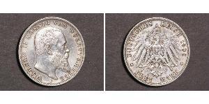 3 Mark Kingdom of Württemberg (1806-1918) Silver Wilhelm II, German Emperor (1859-1941)