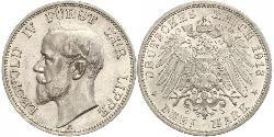 3 Mark Principality of Lippe (1123 - 1918) Silver Leopold IV, Prince of Lippe