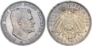 3 Mark Principality of Reuss-Greiz (1778 - 1918) Silver Heinrich XXIV, Prince Reuss of Greiz