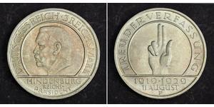 3 Mark Weimar Republic (1918-1933) Silver Paul von Hindenburg