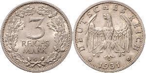 3 Mark / 3 Reichsmark Repubblica di Weimar (1918-1933) Argento