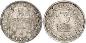 3 Mark / 3 Reichsmark Weimarer Republik (1918-1933) Silber