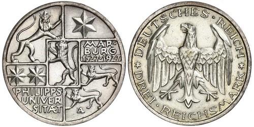 3 Mark / 3 Reichsmark Weimar Republic (1918-1933) Silver