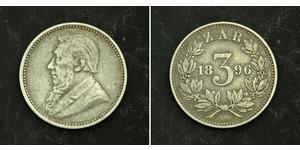 3 Penny Afrique du Sud Argent Paul Kruger (1825 - 1904)