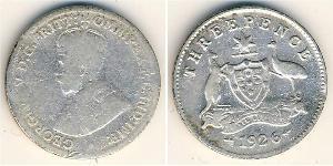3 Penny Australia (1788 - 1939) Argento Giorgio V (1865-1936)