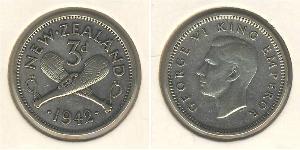 3 Penny Nuova Zelanda Argento Giorgio VI (1895-1952)