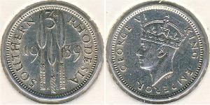 3 Penny Southern Rhodesia (1923-1980) Argento Giorgio VI (1895-1952)