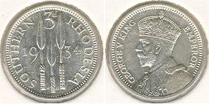 3 Penny Southern Rhodesia (1923-1980) Argento