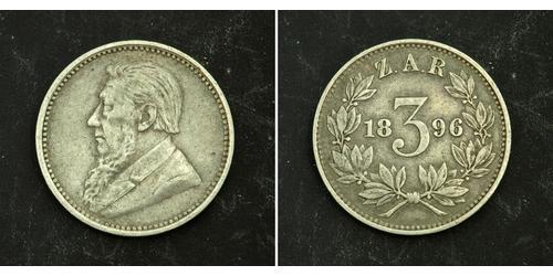 3 Penny Sudafrica Argento Paul Kruger (1825 - 1904)