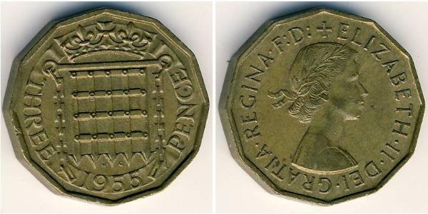 3 Penny Reino Unido (1922-) Bronce Isabel II (1926-)