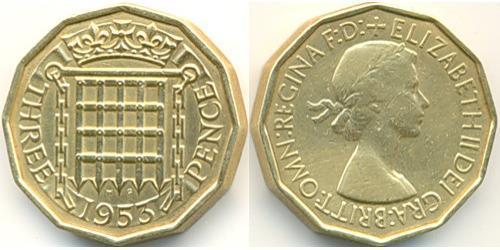 3 Penny Feriind Kiningrik (1922-) Bronze Elizabeth II (1926-)