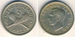 3 Penny New Zealand Copper/Nickel George VI (1895-1952)