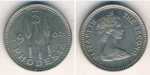 3 Penny Rhodesia (1965 - 1979) Copper/Nickel