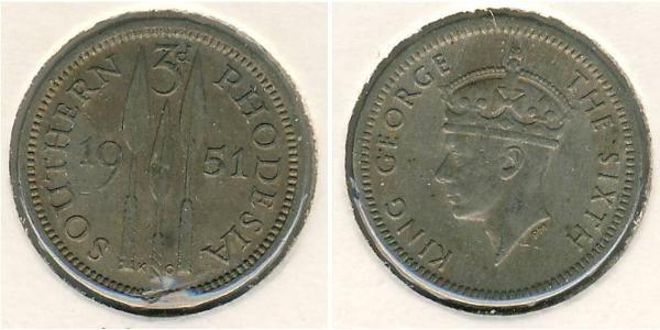 3 Penny Southern Rhodesia (1923-1980) Copper/Nickel George VI (1895-1952)
